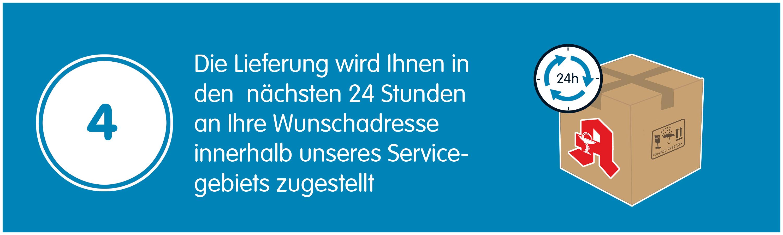 Die Lieferung wird Ihnen in den nächsten 24 Stunden an Ihre Wunschadresse - innerhalb unseres Servicegebiets zugestellt