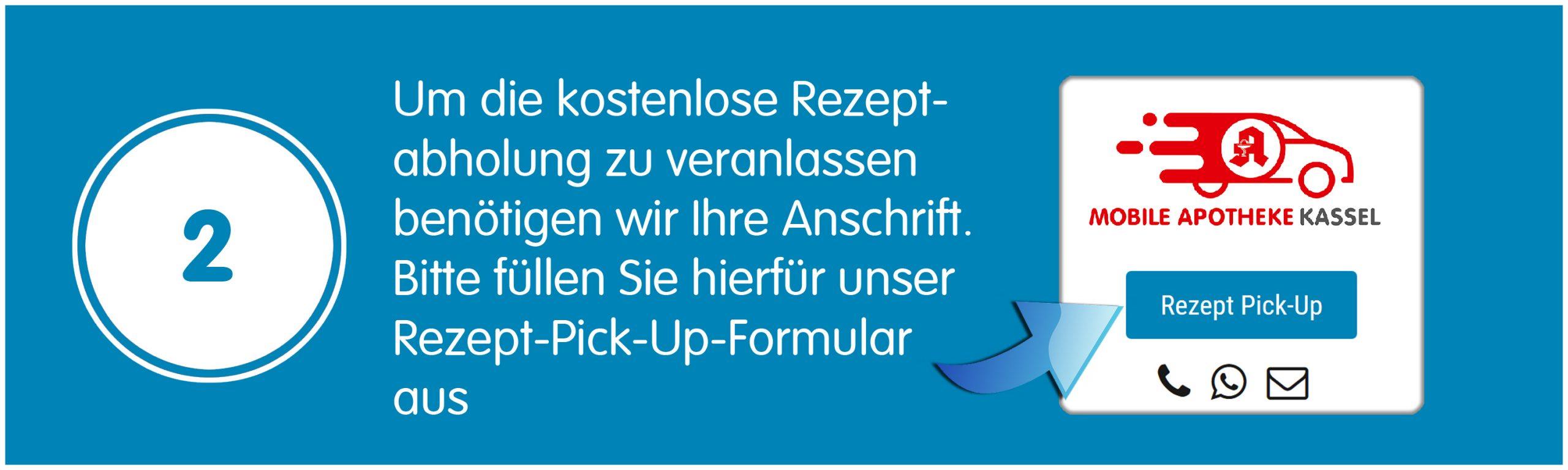 Um die kostenlose Rezeptabholung zu veranlassen benötigen wir Ihre Anschrift. Bitte füllen Sie hierfür unser Rezept-Pick-Up-Formular aus